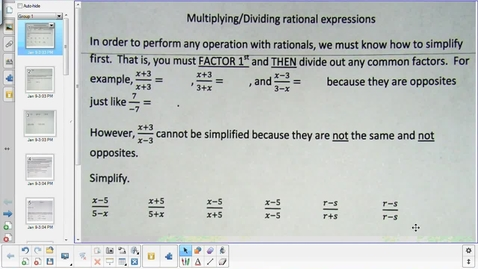 Thumbnail for entry Adding and subtracting rational functions lesson   2-2-15