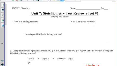 Thumbnail for entry Unit 7 : Stoich Review WS #2 LIVING ANSWER KEY TT
