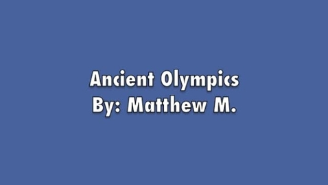 Thumbnail for entry Matthew M. The Olympics