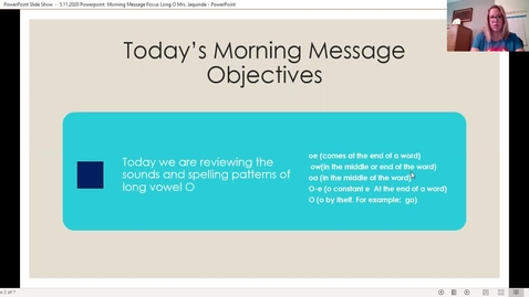 Thumbnail for entry 5.11.2020 Morning Message Focus: Long Vowel O
