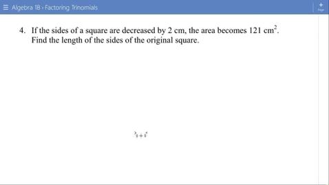 Thumbnail for entry Algebra 1B Lesson 13 #4