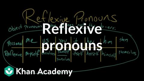 Thumbnail for entry Reflexive pronouns | The parts of speech | Grammar | Khan Academy