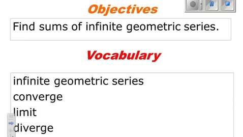 Thumbnail for entry 9.5 infinite geometric series