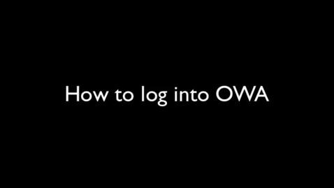 Thumbnail for entry CASD O365 - Log into OWA