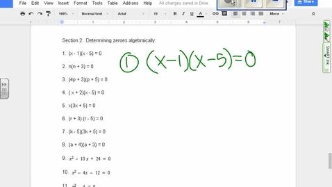 Thumbnail for entry Quadratics:  Finding zeroes algebraically example 1