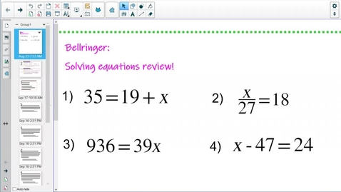 Thumbnail for entry Word Problems Equations (9-28-21)