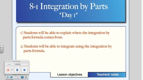Thumbnail for entry 8-1 Integration by Parts (Day # 1)