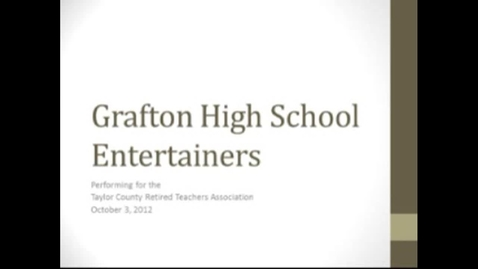 Thumbnail for entry Entertainers Perform on October 3, 2012