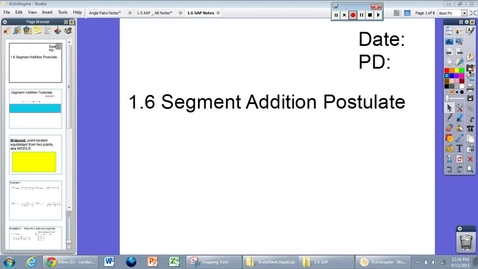 Thumbnail for entry 1.6 Segment Addition Postulate (SAP)