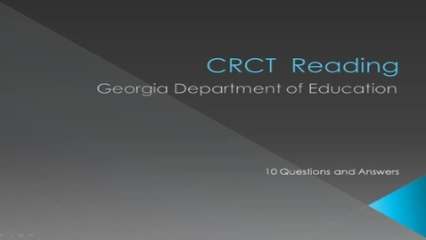 Thumbnail for entry CRCT 3rd Grade Reading Practice Test