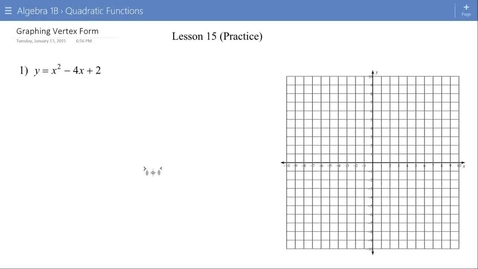 Thumbnail for entry Algebra 1B Lesson 15 #1