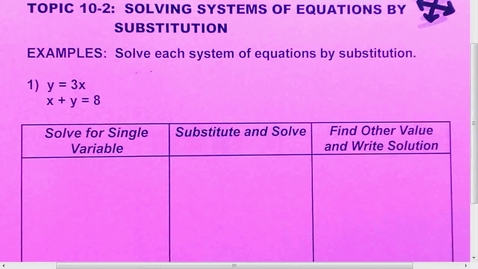 Thumbnail for entry 10.2 Solve Systems by Substitution