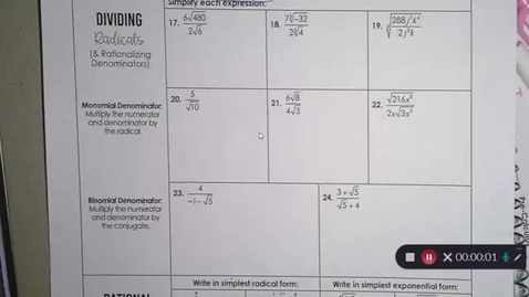 Thumbnail for entry 8-27 Pre Calc Dividing Radicals