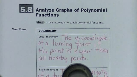 Thumbnail for entry Alg 2 Sec 5.8 Analyze polynomial graphs