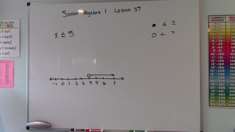 Thumbnail for entry Saxon Algebra 1 - Lesson  37 - Inequalities & Graphical Solutions of Inequalities