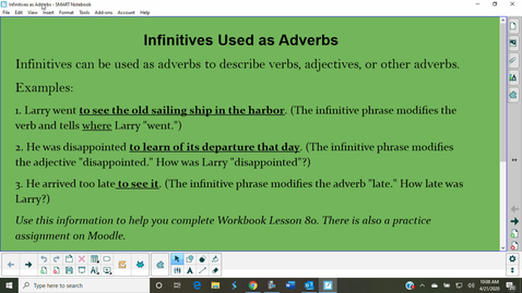 Thumbnail for entry Infinitives Used as Adverbs