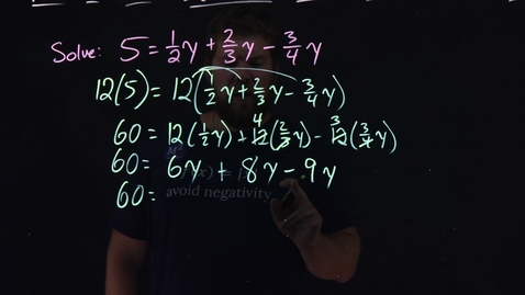 Thumbnail for entry How to Solve Equations with Fraction or Decimal Coefficients | Minute Math