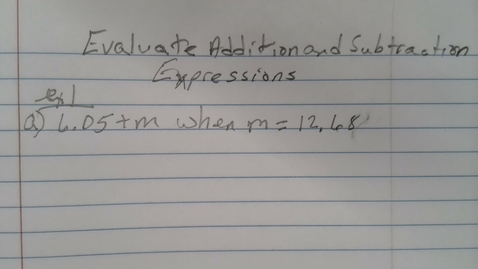 Thumbnail for entry Evaluate Addition and Subtraction Expressions 6th