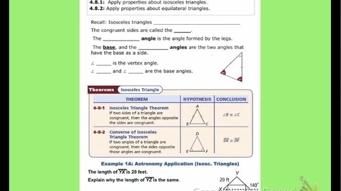 """Thumbnail for entry GeoA Lesson 4:8 """"Isosceles & Equilateral Triangles"""""""