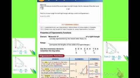 """Thumbnail for entry Alg2B Lesson 13:1: """"Trigonometric Ratios"""""""