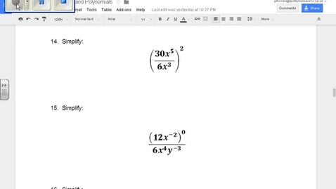 Thumbnail for entry SOL Review Polynomials Question 14 Properties of Exponents