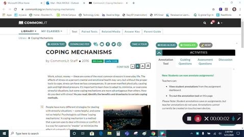 Thumbnail for entry ELA - Grade 7 - Coping Mechanisms