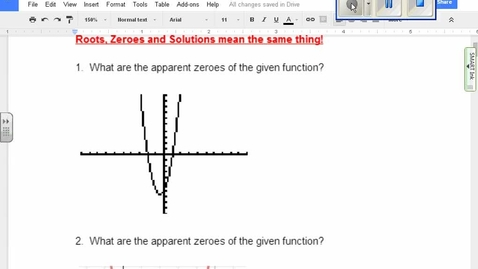 Thumbnail for entry Quadratics: Identifying zeroes from a graph