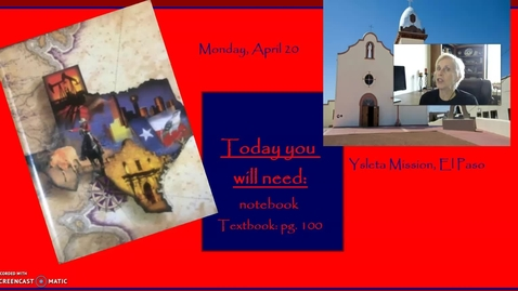 Thumbnail for entry Spanish Texas: video for Monday, April 20