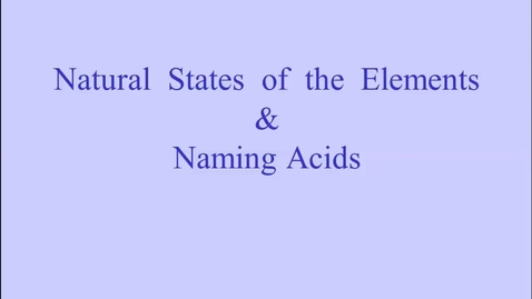 Thumbnail for entry Elements & Acids