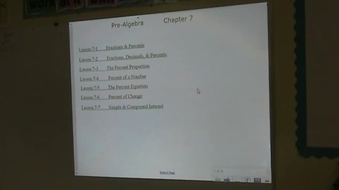 Thumbnail for entry PA Lesson 7-1 Fractions & Percents