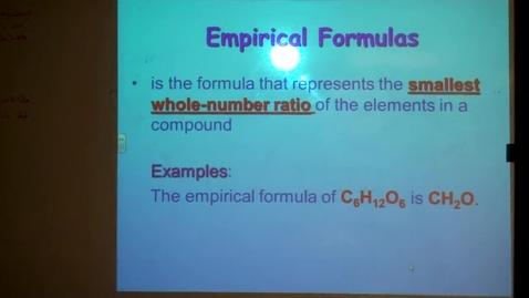 Thumbnail for entry Unit 7 Empirical and Molecular Formulas