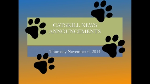 Thumbnail for entry Catskill News Announcements 11.6.14