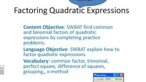 Thumbnail for entry Factoring Quadratic Equations