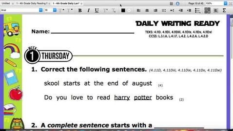 Thumbnail for entry Writing:Reading Skills Thursday, August 27
