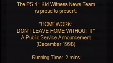 """Thumbnail for entry (1998) KWN """"HOMEWORK - Don't Leave Home Without It"""""""