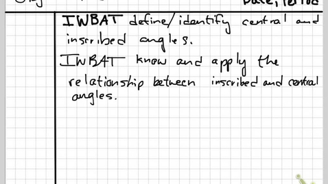 Thumbnail for entry Obj 27A Circle Angles and Arcs
