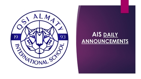 Thumbnail for entry QSI AIS Announcements February 1-5