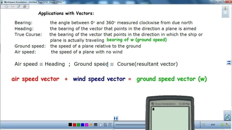 Thumbnail for entry Applications with Vectors (find ground speed and true course with law of cosines and sines)