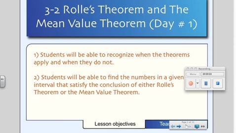 Thumbnail for entry 3-2 Mean Value Theorem