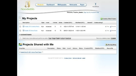 Thumbnail for entry NoodleTools: Students sharing projects - creating drop boxes (1/4)