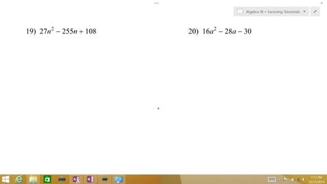 Thumbnail for entry Algebra 1B Lesson 08 #19-20