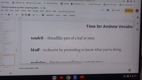 Thumbnail for entry Twelfth Vocabulary Sheet for Time for Andrew by Mary Downing Hahn