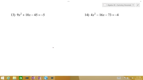 Thumbnail for entry Algebra 1B Lesson 10 #13-16
