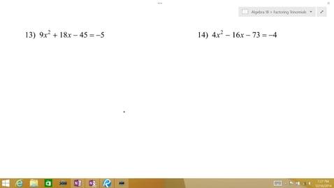 Thumbnail for entry Algebra 1B Lesson 10 #13-16