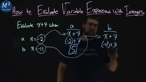 Thumbnail for entry How to Evaluate Variable Expressions with Integers | Part 1 of 4 | Evaluate x+7 when x=-2 and x=-11