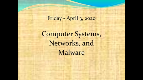 Thumbnail for entry Computer Systems Network Malware