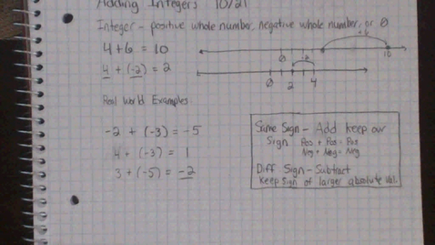 Thumbnail for entry Adding Integers - In Case You Missed It