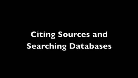 Thumbnail for entry Citing Sources and Database Research