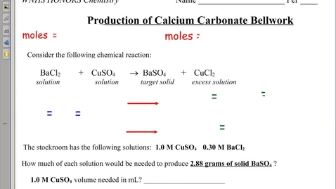 Thumbnail for entry Production of CaCO3 Bellwork and Concentration of Ions in Solution