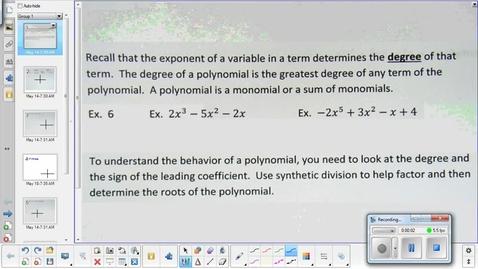 Thumbnail for entry Polynomial behavior lesson   5-18-15